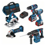 Bosch 0615990K9J Työkalupaketti sisältää laukun, 5,0 Ah:n akut ja laturin